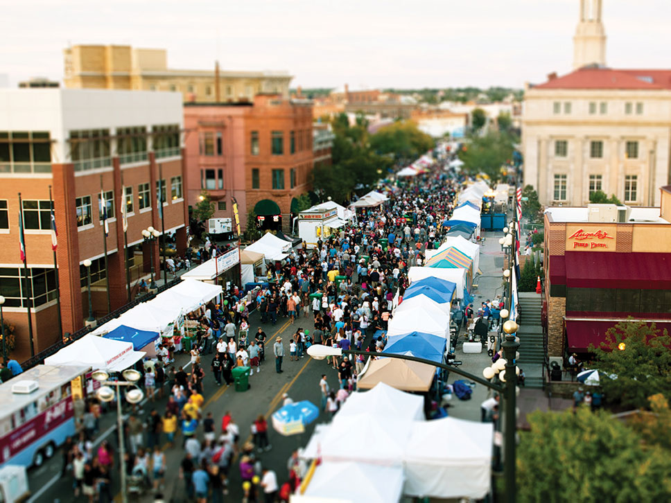 Aerial view of a street festival