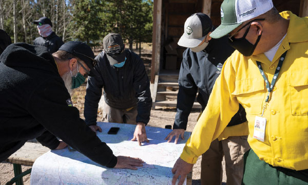 Four masked individuals look at a map