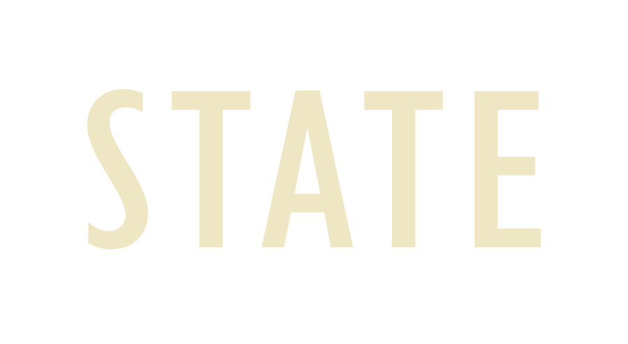 STATE in tan letters